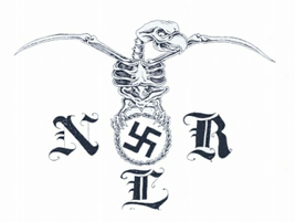 """This Nazi Low Rider tattoo depicts the letters """"NLR"""" and a bird perched atop a swastika."""