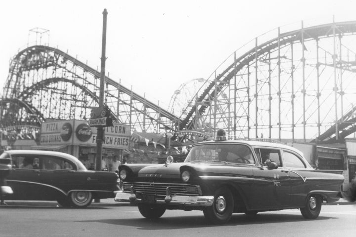 In the 1950s, the NYPD used Ford RMPs (Radio Motor Patrol). This photo shows one at Coney Island...