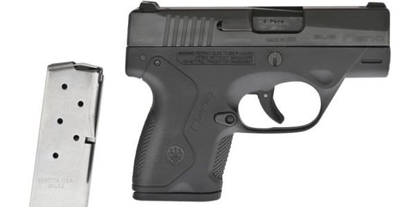 The Nano comes standard with a six-round, single-column magazine. Note the texturing on the...
