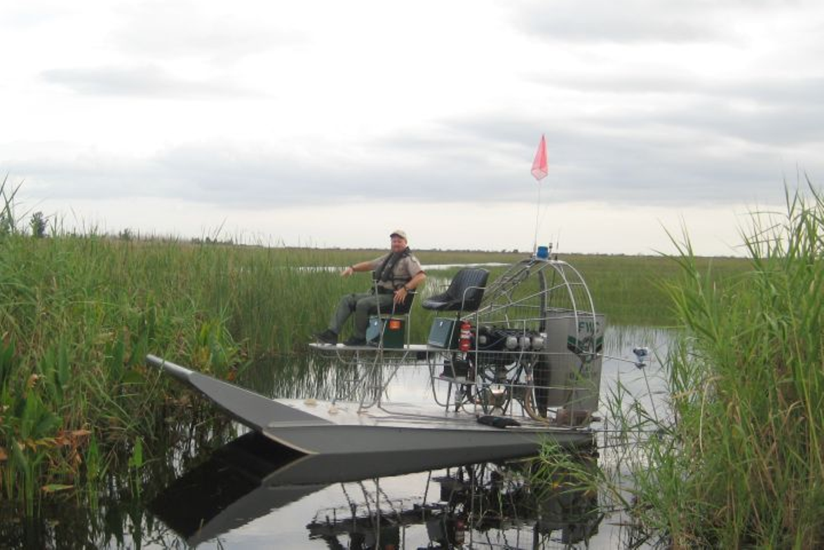 "Officer Bingham patrols south Florida's swampland at the helm of his airboat in ""Operation..."