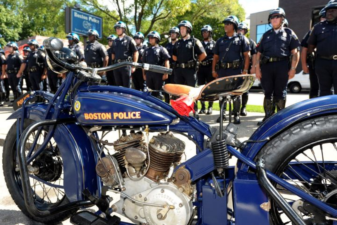 A 1929 Boston P.D. tribute motorcycle on loan from the American Police Motorcycle museum.