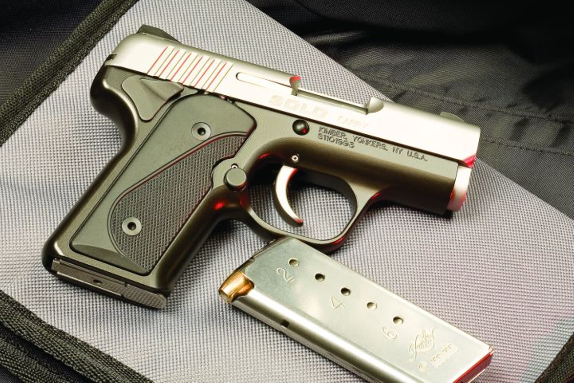 Kimber's Solo Carry has the grip angle of a 1911 and is one of the smaller 9mm pistols on the...