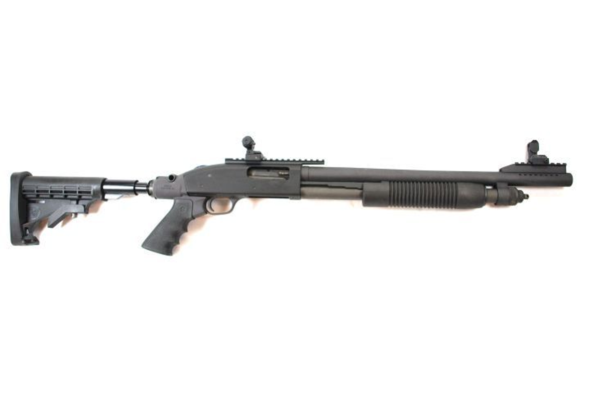 "This ""co-witness"" 590A1 with 18.5-inch barrel arrives with a Mesa Tactical buttstock and..."