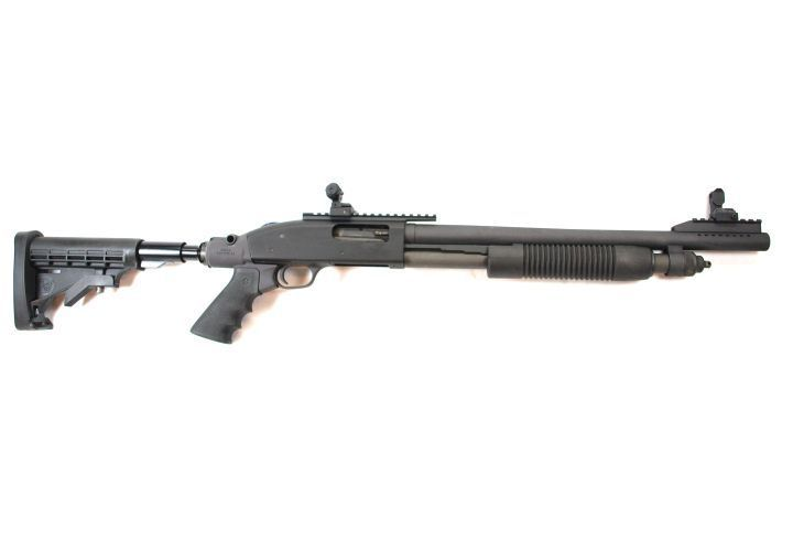"""This """"co-witness"""" 590A1 with 18.5-inch barrel arrives with a Mesa Tactical buttstock and..."""