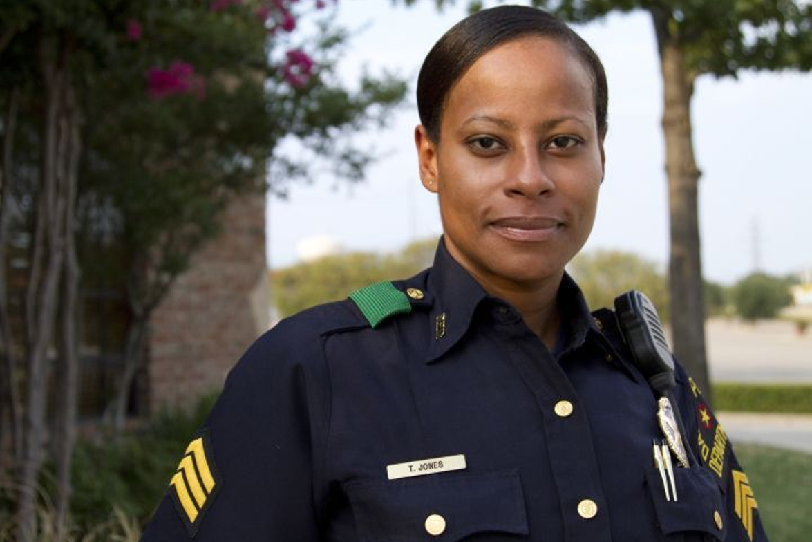 """Sgt. Tracy Jones is a veteran cop with 15 years on the job and """"remains cool, confident and..."""