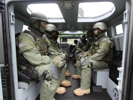 Bench seating accommodates six to eight geared-up tactical operators.