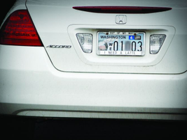 The driver of this car may need a latte, but he or she also needs a license plate frame that...
