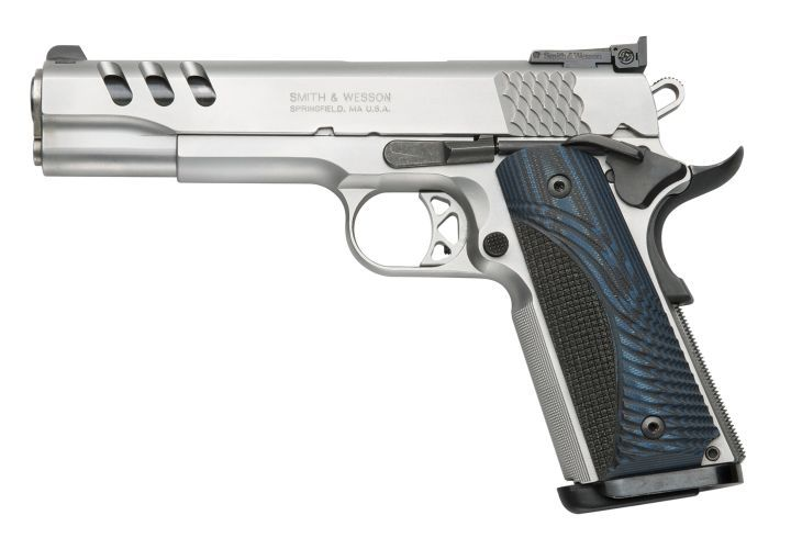 """The SW1911's signature """"fish scale"""" grasping grooves provide a secure purchase."""