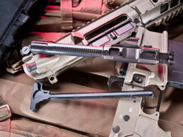 Once disassembled, you can view the SIG716's barrel and charging handle.