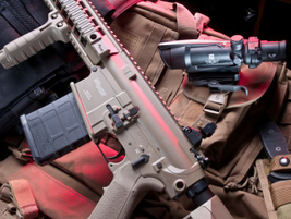 A left-side view of the SIG716, which has a 1:10 twist rate barrel.