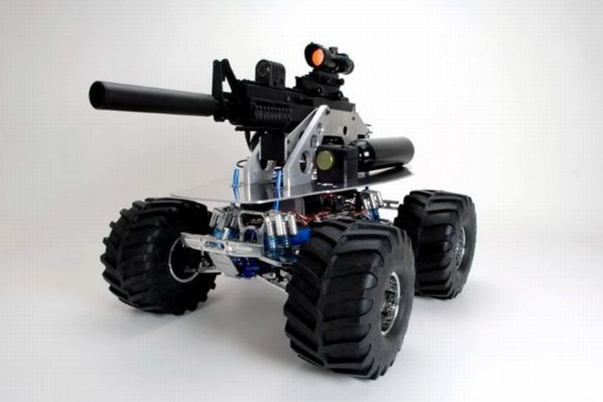 The SWAT BOT features an M16-style weapon that fires pepperballs, paintballs, and hardened...