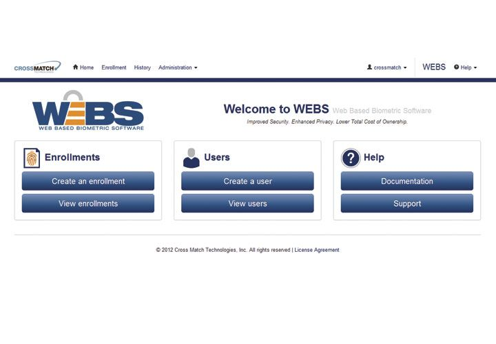 Web-Based Biometric Software (WEBS) from CrossMatch is the first completely Web-based approach...