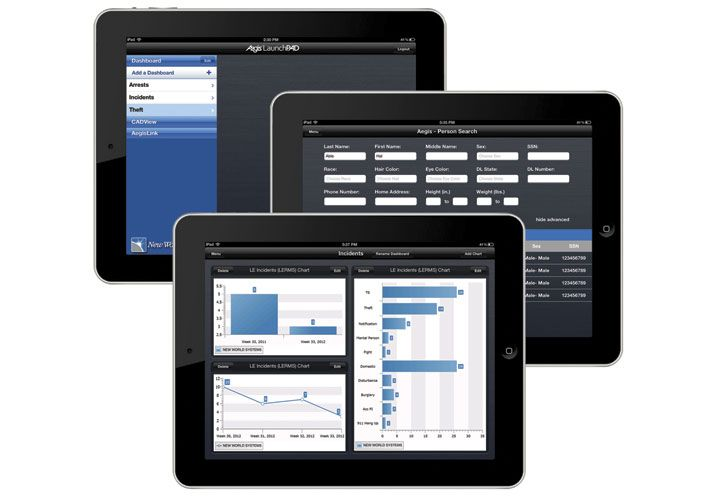 New World Systems introduced its Aegis LaunchPad public safety iPad application at the IACP...