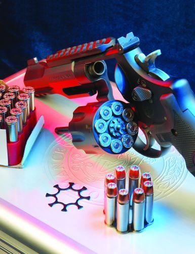 The 327 TRR8's eight-round blackened cylinder gives the revolver capacity on par with many .45...