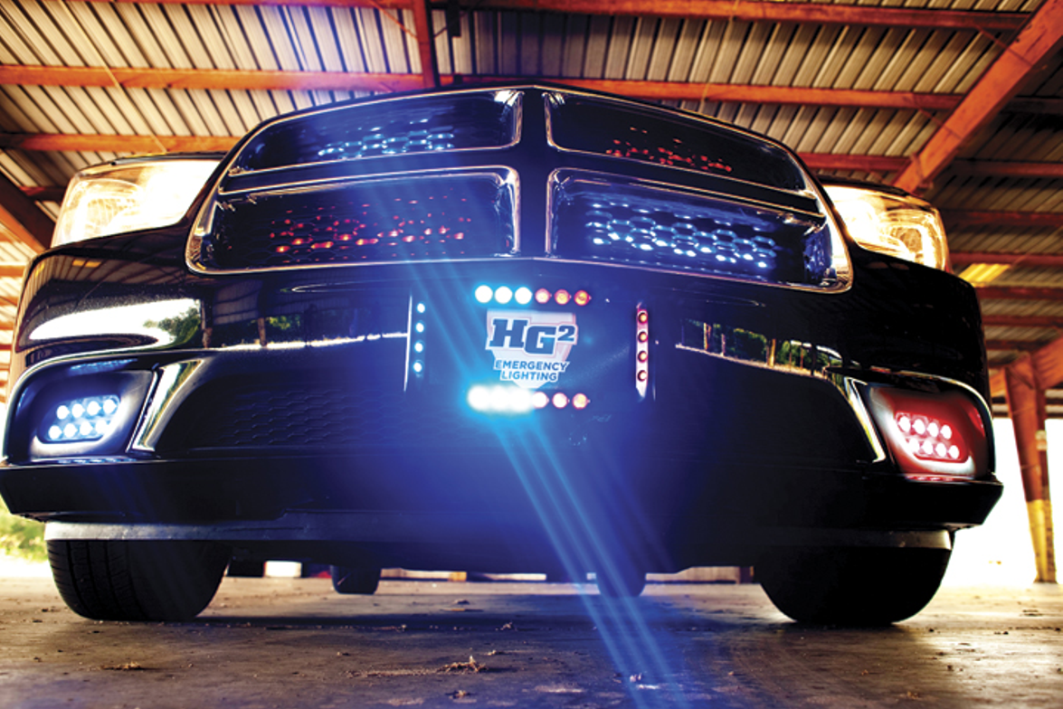 Adamson Industries' HG2 Crossfire is an outward-facing tag bezel with an emergency lighting...
