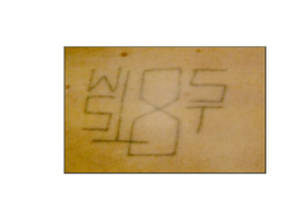 This tattoo represents membership in West Side 18th Street, a Hispanic gang in Los Angeles.