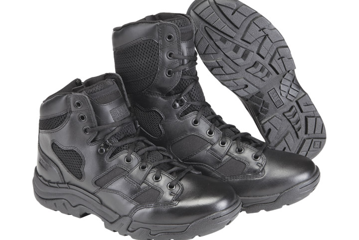 The 5.11 Taclite 8-inch Duty Boot has an upper of full-grain leather, 1,200-denier Cordura...