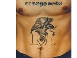 This Mexican Mafia tattoo uses an eagle and snake, which is evocative of the central element on...