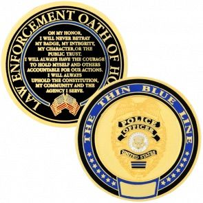 EPoliceSupply.com Thin Blue Line Police Challenge Coin: The Thin Blue Line is an internationally...