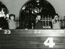 Police women at the LAPD's pistol range in 1948. Photo courtesy of the Los Angeles Police...
