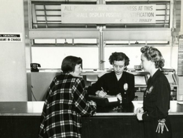 Police women conducting a booking interview at the Los Angeles City Main Jail circa 1950. Photo...