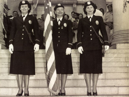Police women of the LAPD's honor guard, circa 1950. Photo courtesy of the Los Angeles Police...