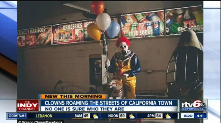 Creepy Clown Reports Spook California Town