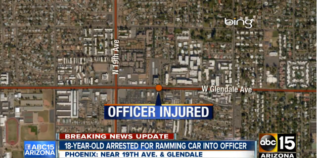 Suspect Drives Car at Phoenix Officer, Causes Injury