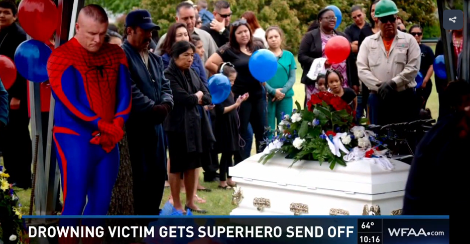 Officer Dons Superhero Costume at Boy's Funeral