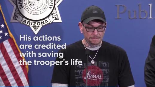 Man Gives Emotional Account of Saving AZ Trooper
