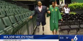 Florida Major Who Lost Both Legs Walks at Daughter's Graduation
