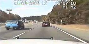 Patrol Car Nudges Drug Runner Off the Road