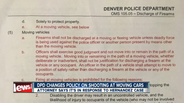 Denver Police Prohibited from Shooting at Cars