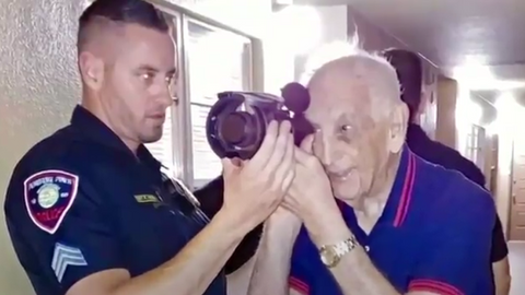 Members of Pembroke Pines SWAT showed up at a Korean War veteran's house to let him use their...