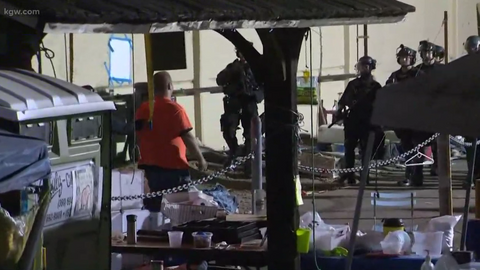 Portland police cleared out an Occupy ICE camp Wednesday morning.