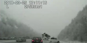 Utah Trooper Hit by Skidding Car, Launched into Air
