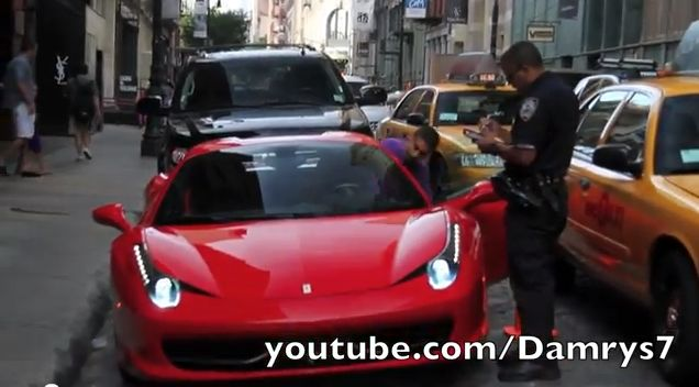 Ferrari Driver Runs Over NYPD Cop's Foot