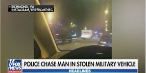 Soldier Steals Armored Vehicle Leads Virginia Officers on 60-Mile Chase