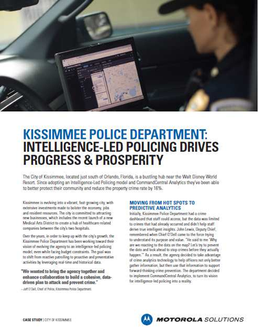 Kissimmee Police Department: Intelligence-Led Policing Drives Progress & Prosperity