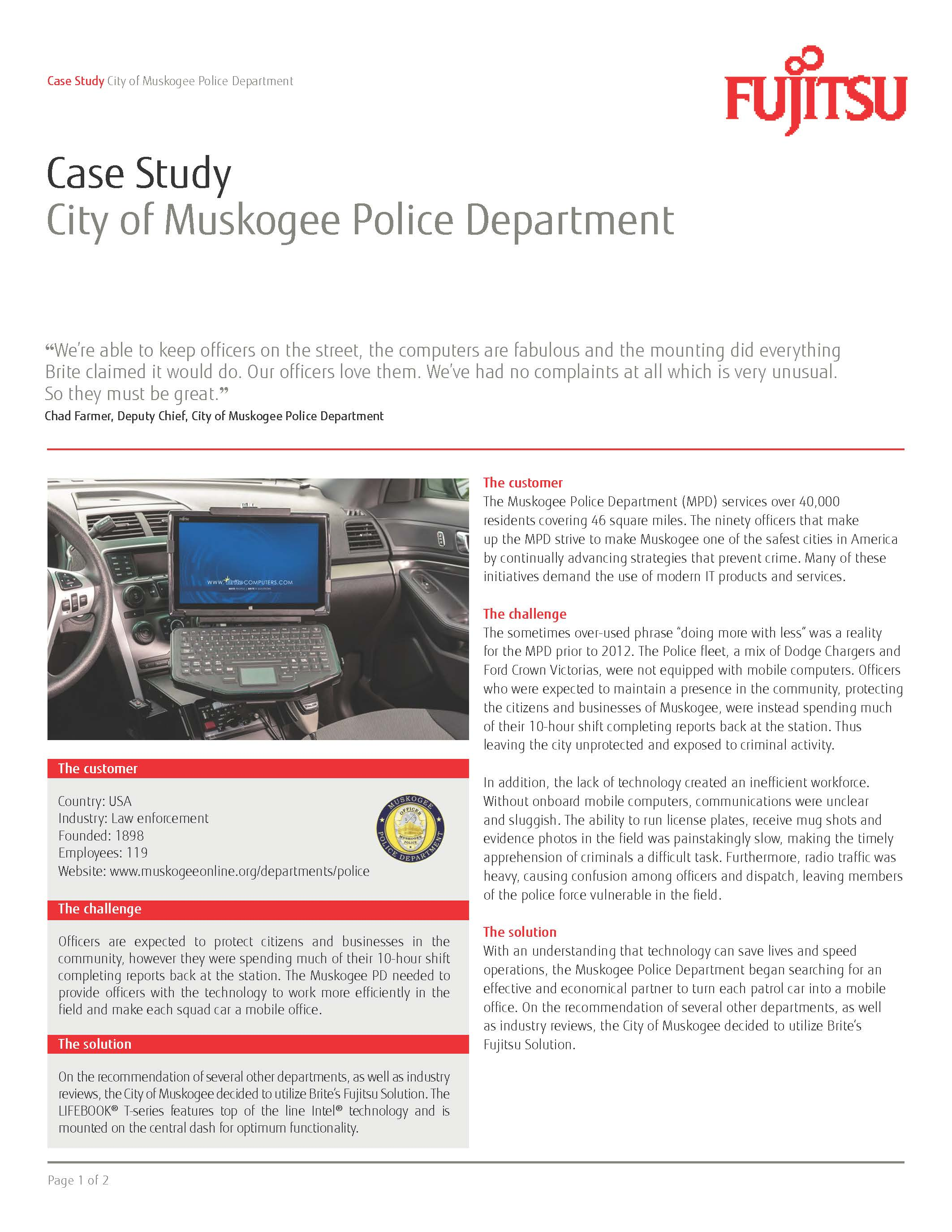 Muskogee PD Deploys Fujitsu In-Car Systems to Improve Patrol Efficiency